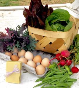 Lettuce eggs peas etc